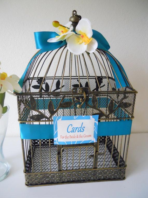 rustic birdcage wedding card holder teal