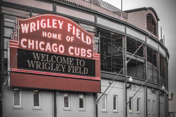 Chicago Cubs Photograph Wrigley Field Art Print Chicago Cubs Neon Sign 8x8 12x12 30x30 Photo Cr Wrigley Field Art Chicago Wall Cubs