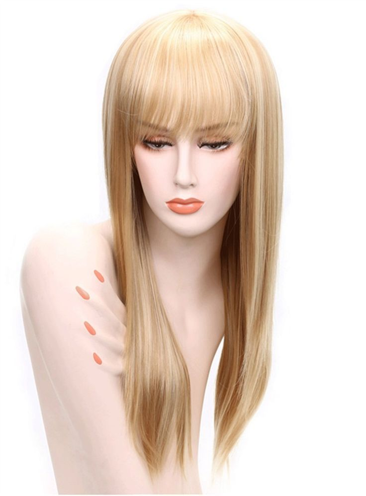 Aisi® Long Straight Blonde With Bangs Hairstyle Capless ...
