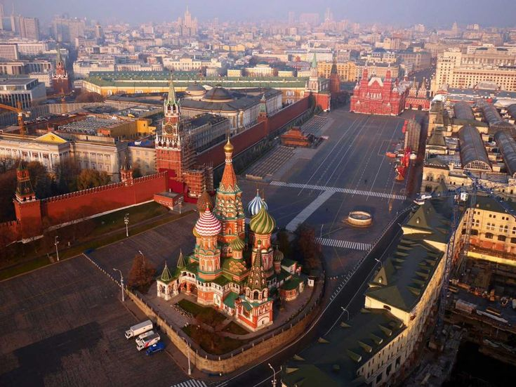 Above the Kremlin at the heart of Moscow, Russia.