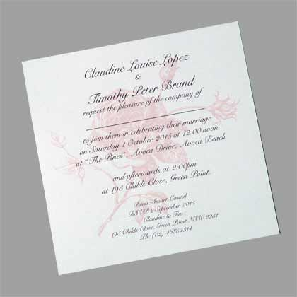 Unusual wedding invitations. A square wedding invitation with a vintage rose printed behind the wedding text. www.kardella.com