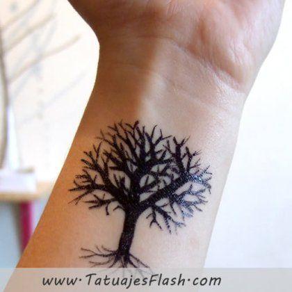 Fantastic wrist tree tattoo design in black tree tattoo for What does a tree tattoo mean
