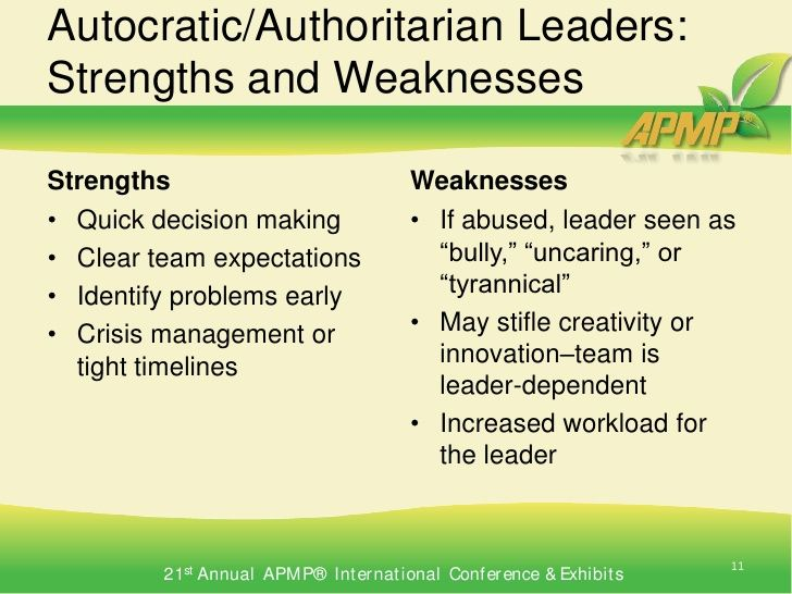strengths and weakness of decision making Lantz says she usually sees four core leadership styles emerge from these assessments individuals often tend to be a combination of styles, each with their own strengths and weaknesses to get the best results on a team, it's important to have a balance of different styles and also to get to a place of appreciating the other styles.