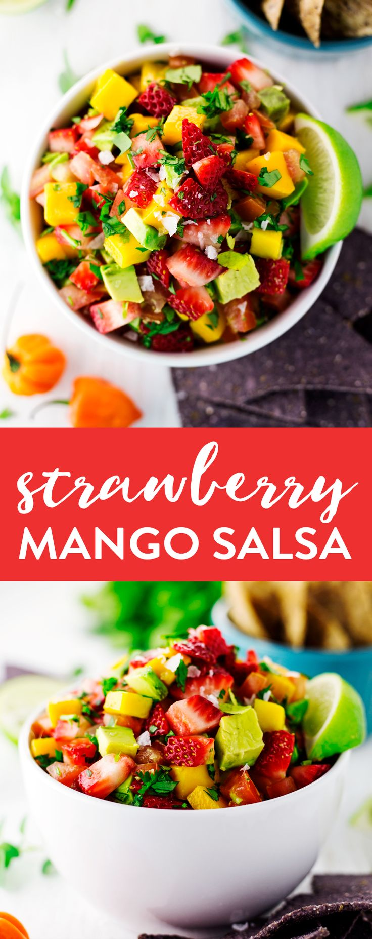 Sweet and refreshing, with a kick of heat from habañero peppers, this Strawberry Mango Salsa will please every palate; the perfect appetizer! | asimplepantry.com