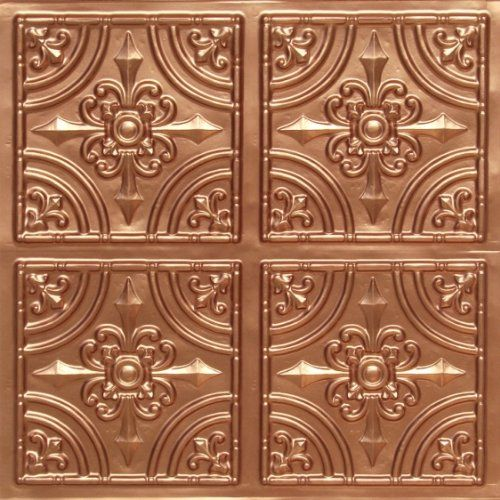 "Faux copper plastic 24""x24"" ceiling tiles less than $10 each on Amazon.  Would make an awesome accent wall."