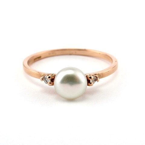 Rose Gold Engagement Ring, Minimalist Pearl Ring, 14K Gold Ring, Diamond Pearl Ring, Engagement Ring, Pearl Engagement Ring, Rose Gold Ring by netawolpe on Etsy https://www.etsy.com/listing/242002317/rose-gold-engagement-ring-minimalist