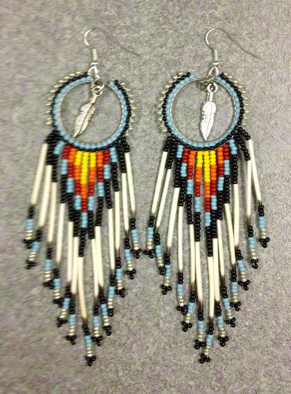 Native American Porcupine Quill Earrings By Prettyuniquedesigns2 Bea Beading Beaded Jewelry Beadwork Seed Bead Украшения из бисера