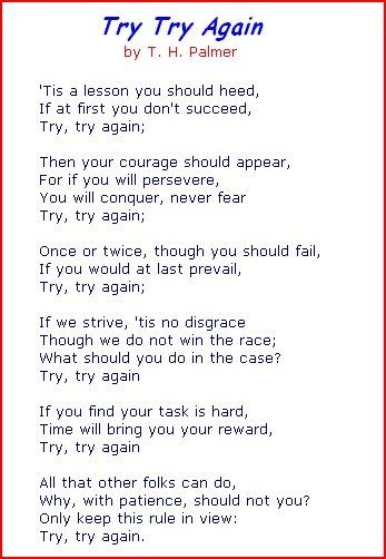 try try again poem - Google Search