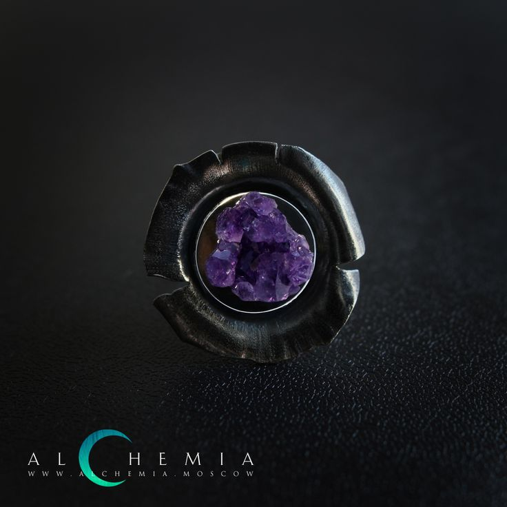 The Cristall ring. Silver, amethyst. Handmade by Alchemia Jewellery.