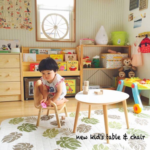 nekomusumeさんの、机,ニトリ,キッズテーブル,西松屋,子ども用椅子,キッズスペース,キッズコーナー,子どもスペース,子どもコーナー,のお部屋写真