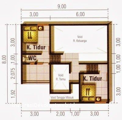 desain rumah sederhana ukuran 5×9 di 2020 | desain rumah