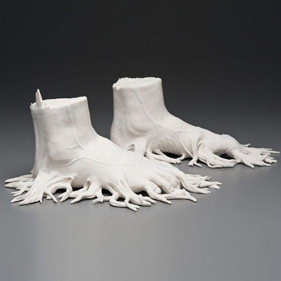 Kate MacDowell - Porcelain Sculptures - Sculture che rappresentano il rapporto tra uomo e natura
