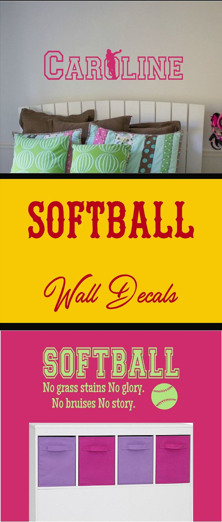 57 best softball wall decals images on pinterest vinyl wall wall decals childrens wall decals personalized decal by newwavesigns amipublicfo Choice Image