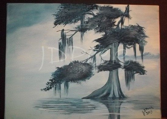 Cypress Tree painting 12x16 inches by JDPeek on Etsy, $110.00