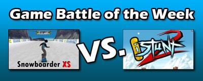 Snowboarder XS versus iStunt2  Vote for your favorite at: https://www.facebook.com/PrimaryGamescom