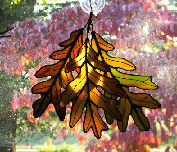 Stained Glass Oak Leaf Cluster by OriskanyGlass on Etsy