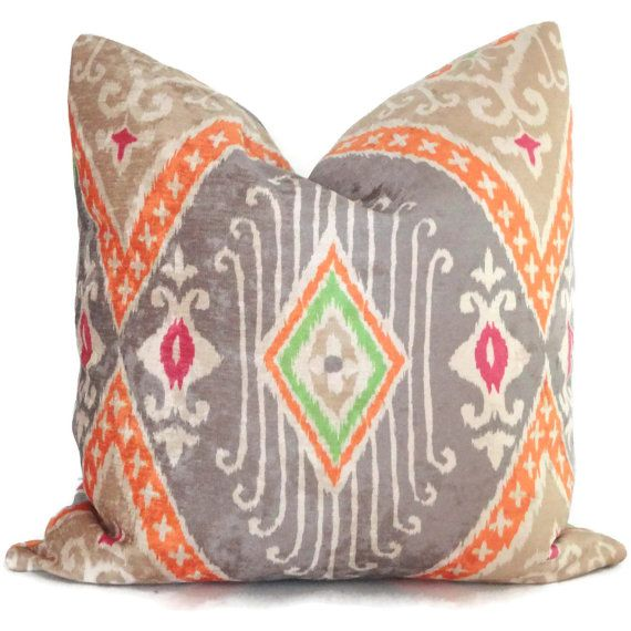 Throw Pillow Euro Sham : Iman Nectar Velvet Ikat Decorative Pillow Cover, Square, Euro sham or lLumbar pillow, Throw ...