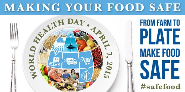 Every year, World Health Organization selects a priority area of global public health concern as the theme for World Health Day, which falls on 7 April, the birthday of the Organization. World Health Day 2015 on Food Safety is an opportunity to alert governments, manufacturers, retailers and the public to the importance of food safety - and the part each can play in ensuring that the food on people' plates is safe to eat.