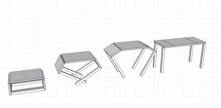 Table basse convertible en table haute explication en 3D du fonctionnement
