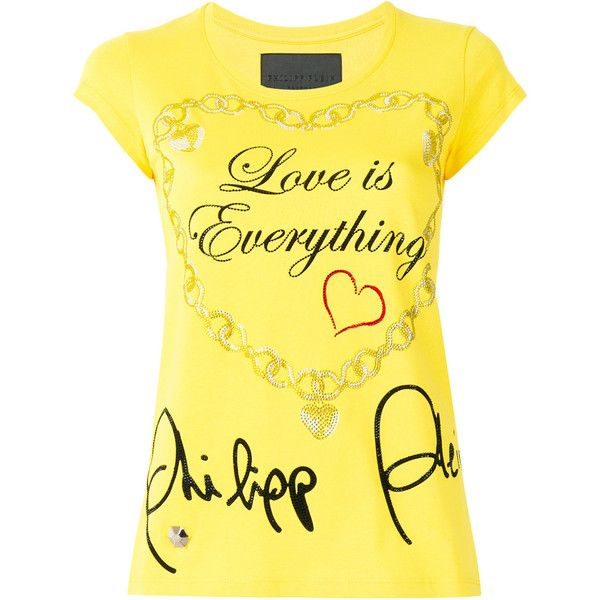 Philipp Plein Love Is Everything T-shirt ($415) ❤ liked on Polyvore featuring tops, t-shirts, yellow, short sleeve tops, round neck t shirt, yellow top, philipp plein and short sleeve t shirts