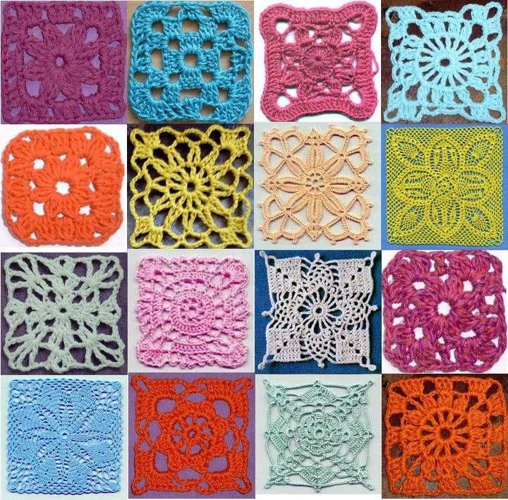 kare şeklinde renkli örgü motif örnekleri