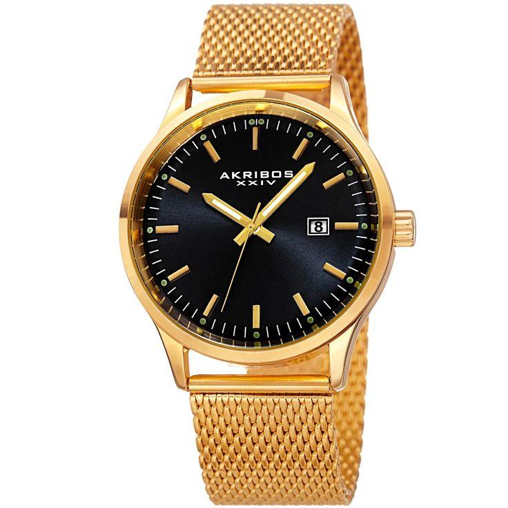 Akribos Xxiv Men's Quartz Stainless Steel Mesh Bracelet Watch