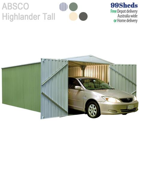 Absco HighlanderGarden Shed with Extra Height • Extra Wide Double Door opening for your Car • 30 year warranty. So tough - Too Easy!