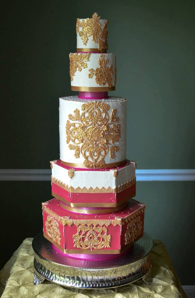 White And Gold Wedding Cake Indian