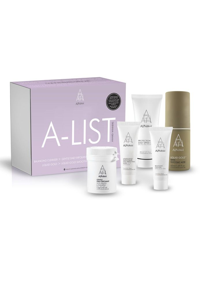 A-List Kit - This pack is dedicated to our shining stars. The Alpha-H A-List Kit celebrates the products praised by media and the beauty elite.  Famed for its unique low ph delivery system, Liquid Gold takes center stage in this collection, along with the acclaimed Liquid Gold Smoothing and Perfecting Mask. Daily staples Balancing Cleanser, Gentle Daily Exfoliant and Protection Plus Daily SPF50+ make this kit a must have.