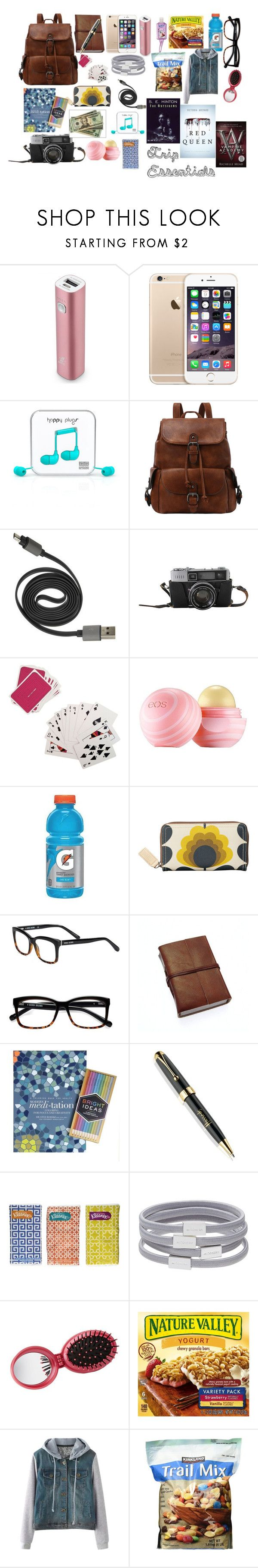 """""""Road Trip Backpack Essentials"""" by rachellcardenas on Polyvore featuring Samsung, Happy Plugs, Third Drawer Down, Eos, Orla Kiely, Bobbi Brown Cosmetics, Harrods, Kleenex, Witchery and Charlotte Russe"""