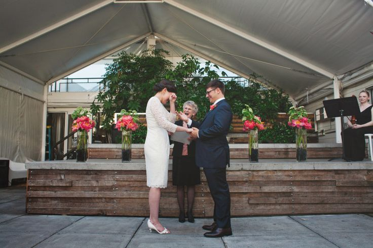 A Chic Oregon Wedding at The Jupiter Hotel A Practical Wedding: I like to simple floral decor for the ceremony...
