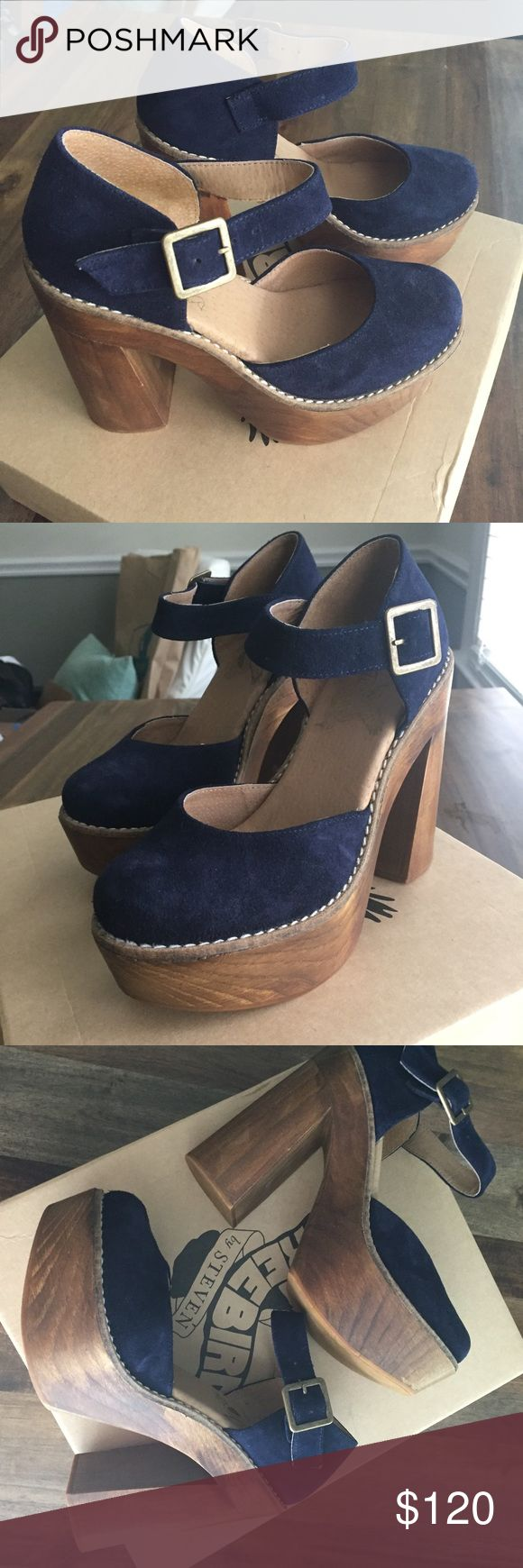 Selling this NIB Blue Suede Platform Mary Janes on Poshmark! My username is: ohight1. #shopmycloset #poshmark #fashion #shopping #style #forsale #Steven By Steve Madden #Shoes