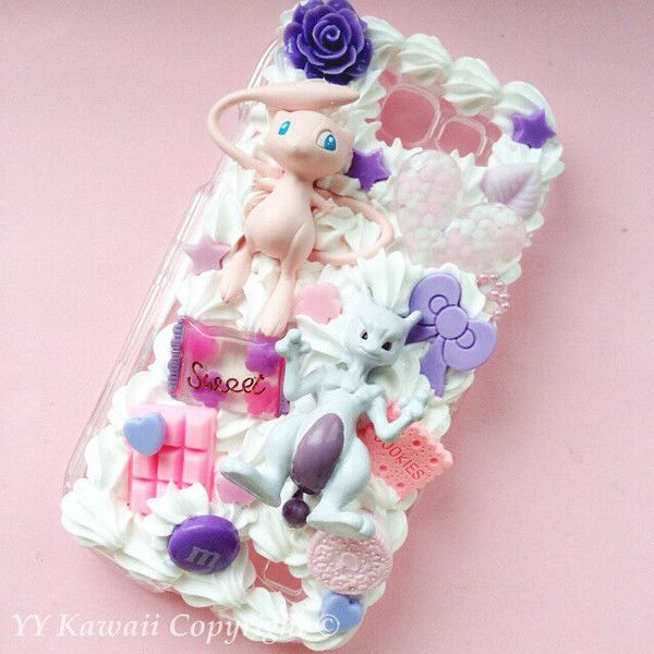 Custom Kawaii Pokemon Mew and Mewtwo Evolution Decoden Phonecase for... ($28) ❤ liked on Polyvore featuring accessories, tech accessories, phone cases, pokemon and samsung