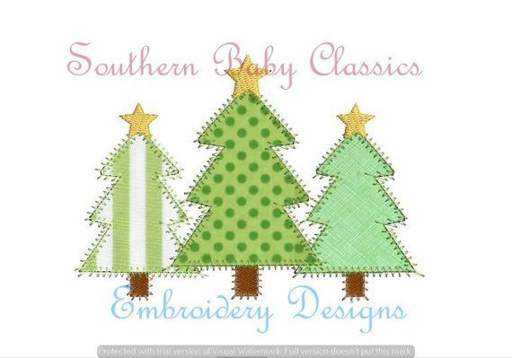 Christmas Tree Trio Star Zig Zag Stitch Applique Trees Row Three Trio Pine Design File For Embroi Christmas Embroidery Designs Christmas Embroidery Pine Design