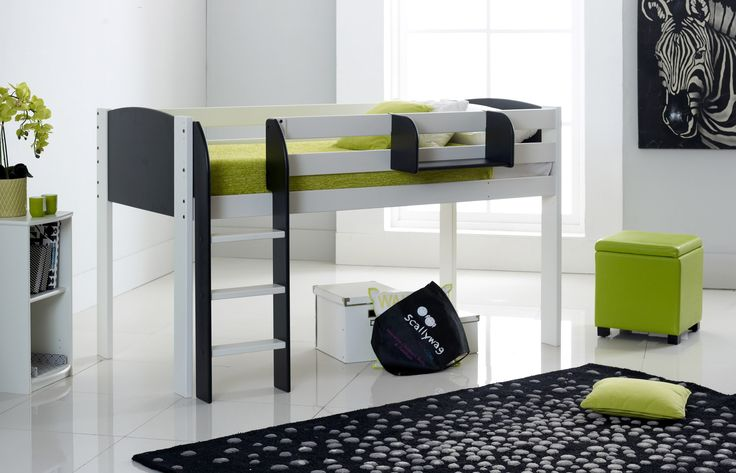 Scallywag Exclusive Kids Mid Sleeper Cabin Bed Straight Ladder - 8 Colour Options: White, Red, Blue, Plum, Black, Lilac, Lime, Pink. Narrow Short available for box room. Made in UK
