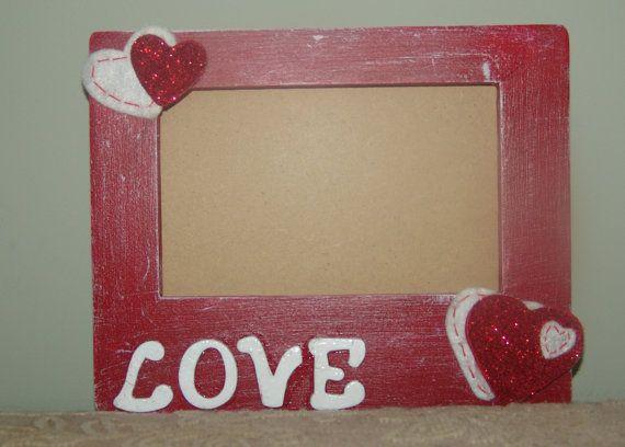 Wood Picture Frame Valentine Heart Love by cjscraftycorner2, $10.00