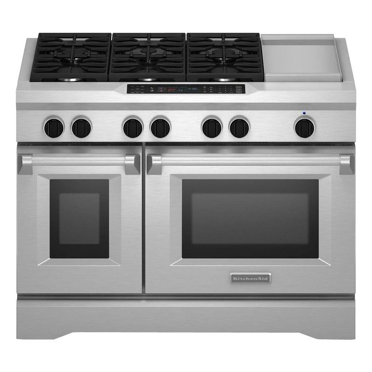KitchenAid Commercial-Style 48 in. 6.3 cu. ft. Slide-In Double Oven Dual Fuel Range, Self-Cleaning Convection Oven in Stainless, Silver