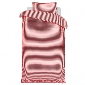 Tasaraita pussilakana ja tyynyliina, puna-valkoinen        Valmistaja: Marimekko      Design: Annika Rimala