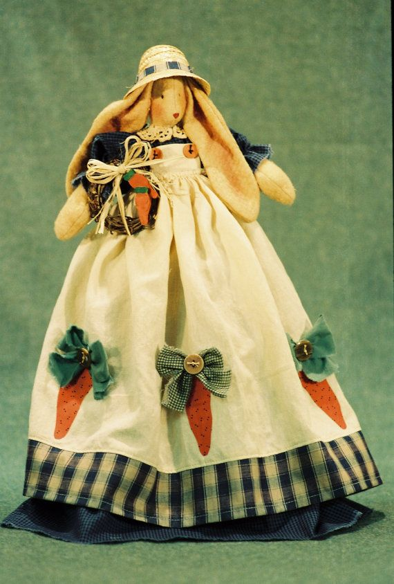 Cloth Doll Pattern- 21in Country Girl Bunny doll Epattern