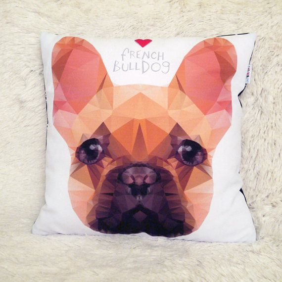 Decorative Pillow I love French Bulldog Biscuit by PSIAKREW