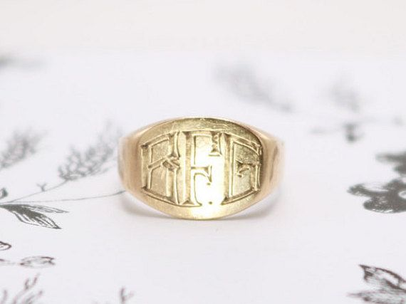 14k Yellow Gold Signet Pinky Ring Unisex | OrbJewelry