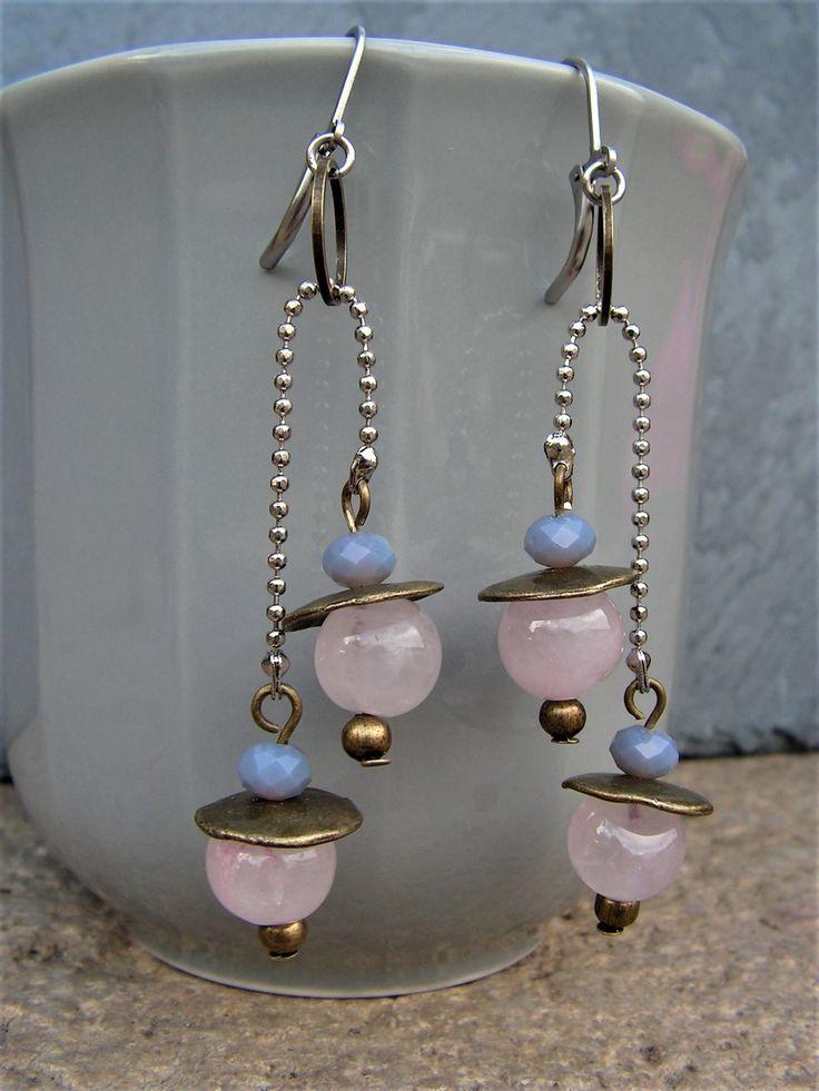 boucles d'oreilles balancier quartz rose et acier inoxydable : Boucles d'oreille par lilicat