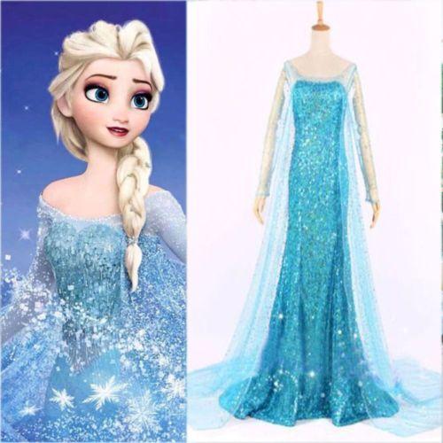 Congelados-pelicula-Elsa-Reina-Azul-Vestido-De-Lujo-Adulto-Chica-Lady-Disfraz-Cosplay-Vestido