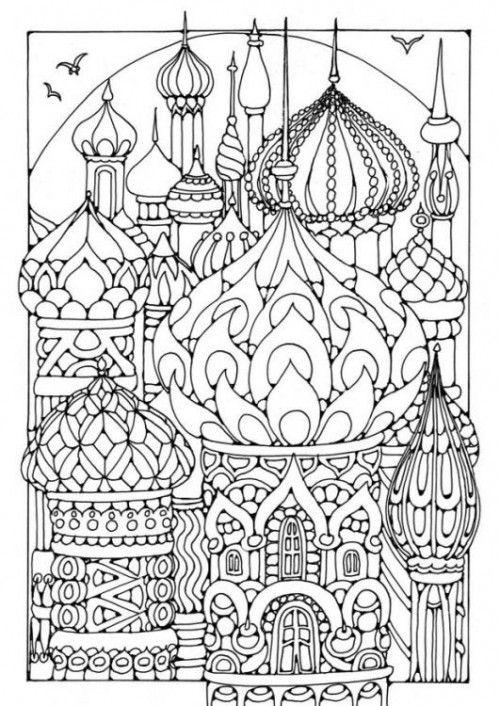 Coloriage pour adulte et anti-stress d'un paysage russe dans 8 dessins pour s'essayer au coloriage anti-stress pour adulte