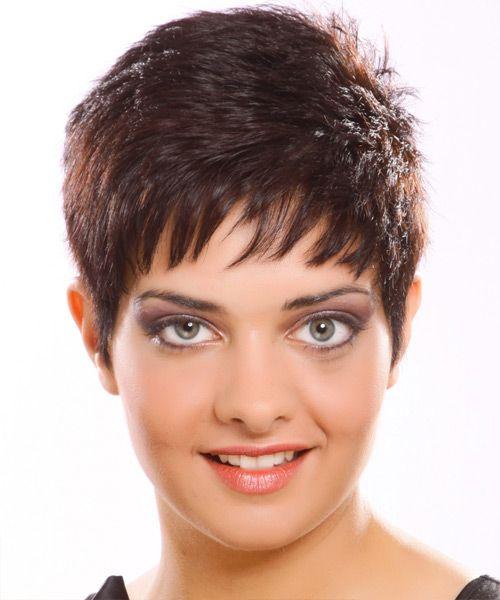 Short Straight Casual Hairstyle - Medium Brunette (Plum)