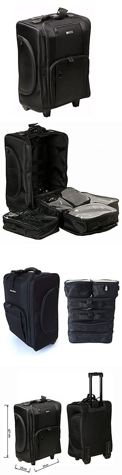 Rolling Makeup Cases: Kemier Portable Cosmetic Organizer Nylon 2 Wheeled Rolling Makeup Case Pro Black -> BUY IT NOW ONLY: $102.4 on eBay!