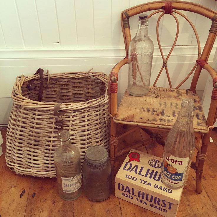 Antique child's split cane chair:vintage fishing creel:old bottles @rustemporium