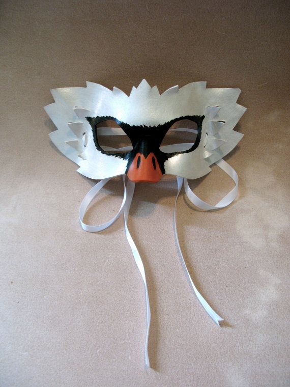 Swan Leather Mask - Masquerade Mask - Halloween Costume - White Swan Mask - Ballet - Unique Costume - Wall Hanging - Art
