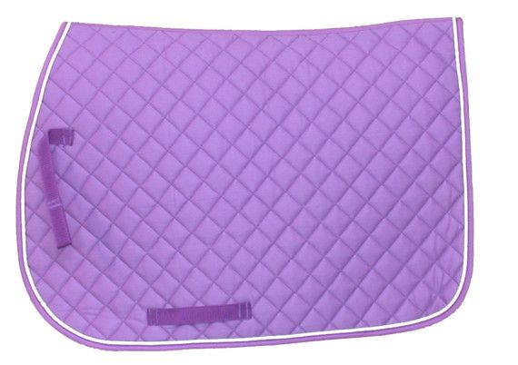 square saddle pads | square quilted english saddle pad purple with white see description