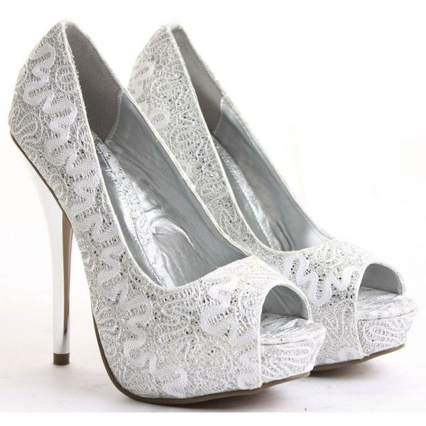 saba ladies silver high heels bridal court wedding shoes 29 liked on polyvore